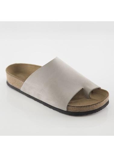 Ballerins Hakiki Deri Sandalet Gri